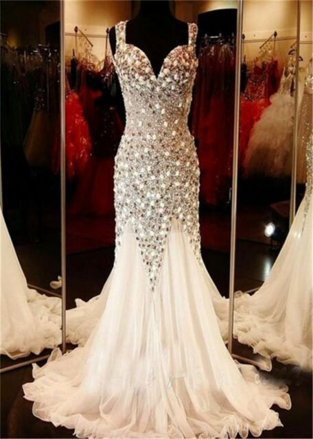 Mermaid Crystal Long Formal Evening Dress Beaded Celebrity Party Prom Gown