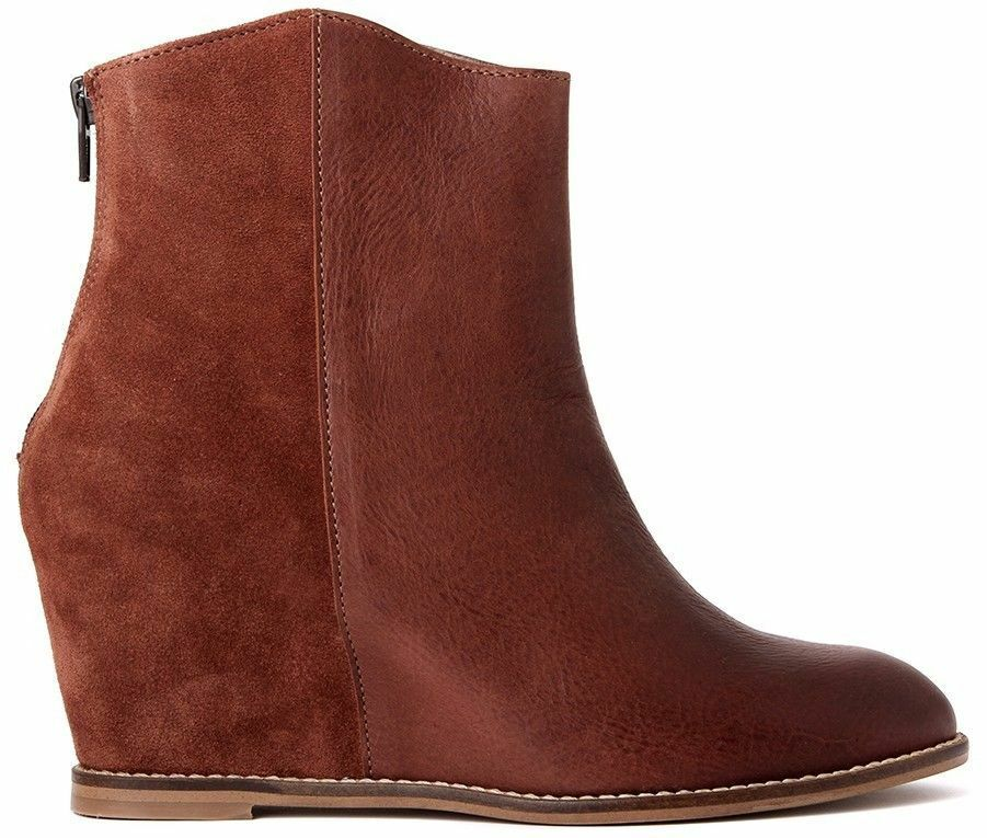 H by Hudson Boot, Sefton Leather/Suede Wedge Ankle Boot, Hudson Bootie Brown NIB, sz 7.5, 8 c69f18