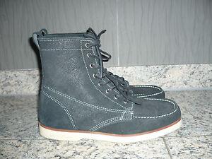 Herren-Schuhe-Gr-41-5-Stiefel-Boots-SEBAGO-Docksides-Leder-schwarz