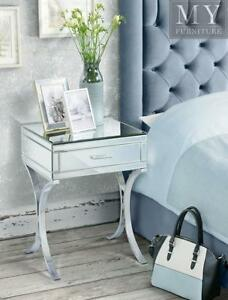 info for 975ce cc82d Details about AURELIA Mirrored & Chrome Bedside Table