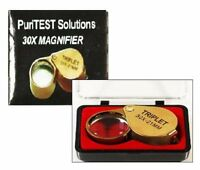 30x Magnifying Glass Eye Loupe For Antique Sterling Silver Vase Collectible Gold