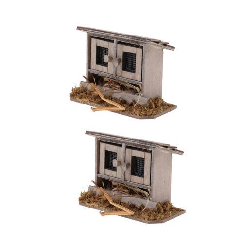 2pcs 1:12 Scale Miniature Dollhouse DIY Mini Fairy Garden Chicken Coop Decor