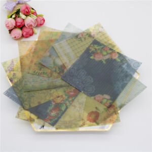 10pcs Vintage Flowers Vellum Paper Stickers For Scrapbooking Card