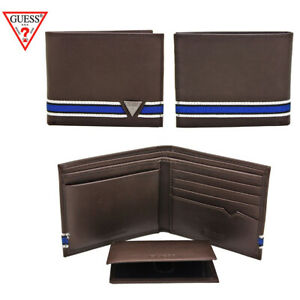 Guess-Men-039-s-Brown-Leather-Billfold-Passcase-Wallet-Brown