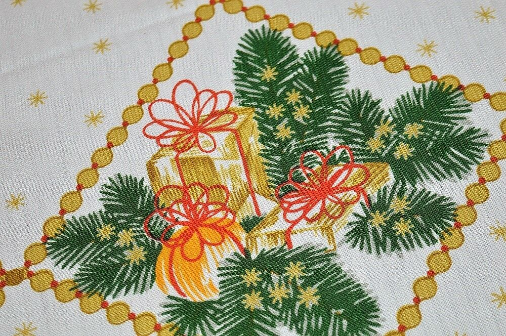 CHRISTMAS GIFTS TIED W  rouge BOWS & BEADED GARLAND  VTG GERMAN PRINT TABLECLOTH