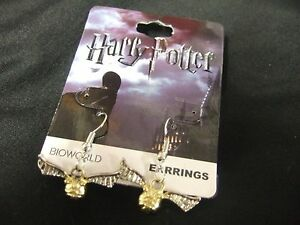 Details about New Harry Potter Deathly Hallows Golden Snitch Pendant  Fishhook Earrings 2pc Set