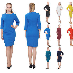 0450c5b91a Image is loading WOMENS-ELEGANT-CLASSY-WORK-DRESS-OFFICE-BUSINESS-LONG-
