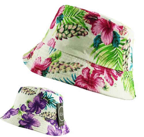 Unisexe Floral Seau CACHOU Bush Pêcheur Chapeau Soleil Hawaii