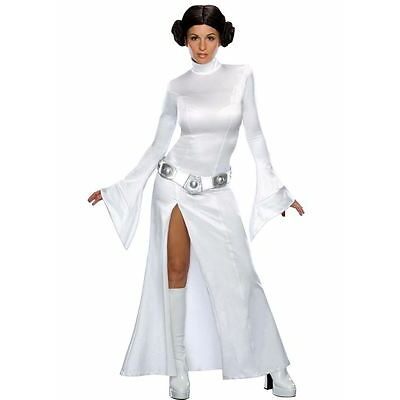 Ladies Sexy Princess Leia Star Wars Fancy Dress Costume Halloween Outfit + Wig