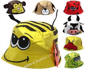 8b561488 Image is loading Childrens-Bush-Bucket-Hat-Kids-Sun-Protection-Novelty-