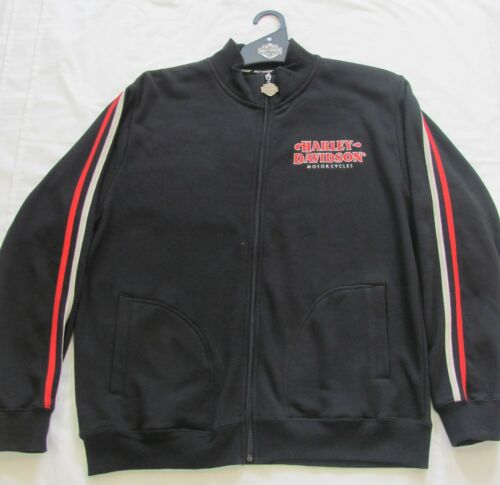 HARLEY DAVIDSON GENUINE CADET JACKET BLACK MENS COTTON FLEECE JUMPER FULL ZIP