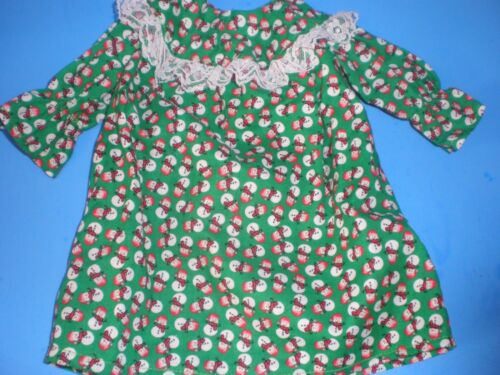 CLOTHES 4 AMERICAN GIRL TWINS GREEN SNOWMAN  CHRISTMAS NIGHTGOWN BITTY BABY