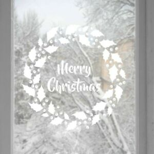 Christmas-wreath-window-or-wall-Stickers-Decals-Window-Stickers-Home-Decor-Snowf