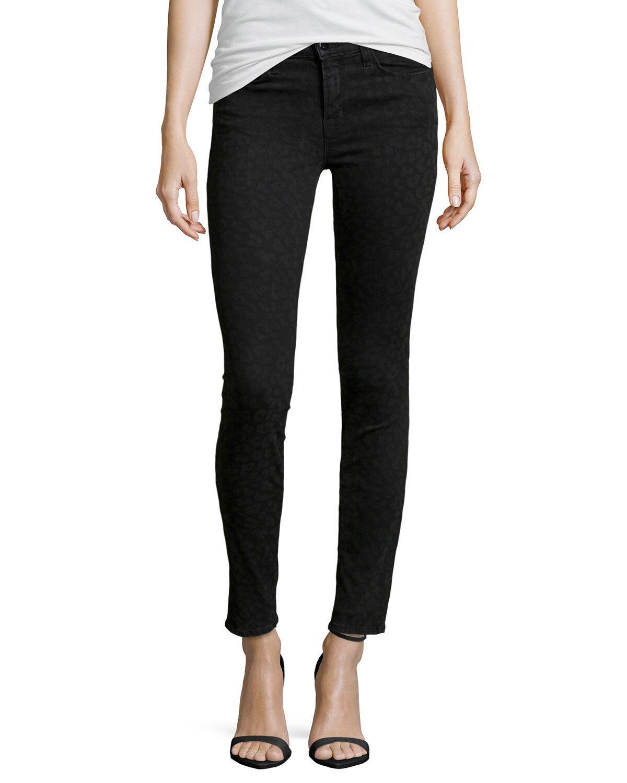 J Brand Jeans Jeans Jeans Halbhoher Super Röhrenjeans Schwarz Leopard Nwt Größe  26 ea86d4