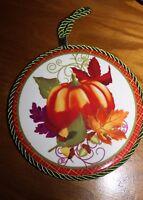 Glazed Ceramic Tile Fall Harvest Pumpkin Cork Back Hangs