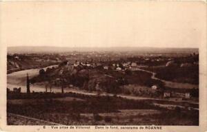 CPA-Vue-prise-de-Villerest-Dans-le-fond-panorama-de-Roanne-664159