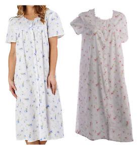 8b43f8b97d53a Femmes Slenderella 100% Cotton Chemise de Nuit Florale Manche Courte ...