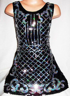 GIRLS BLACK PINK WHITE GLITTERY SEQUIN MESH DISCO DANCE PARTY SHORT DRESS TOP