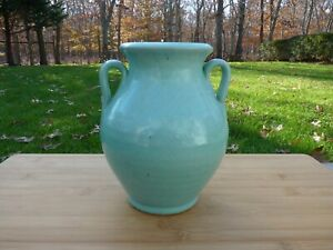 Antique-Brush-McCoy-Pottery-Celadon-Glazed-Handled-Vase