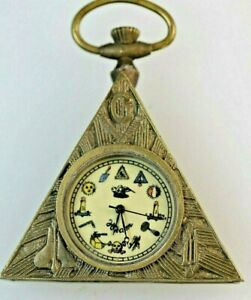 Masonic-Bronze-Time-Piece-Clock-Triangle-Shaped-inset-with-Masonic-symbols