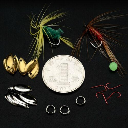 Attrezzatura Pesca Kit Fly Esche Ganci Paillettes Cucchiaino Set Per Trota Bass