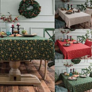 Christmas Tablecloth Cotton Linen Snowflakes Rectangular Table Cloth Cover Decor Ebay