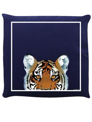 Curieux créatures Coussin Tigre Bleu marine 40x40cm