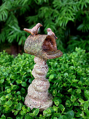 Miniature Dollhouse FAIRY GARDEN ~ Stone Look Mailbox Pick with Birds ~ NEW