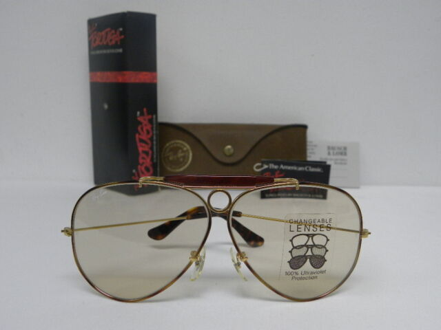 New Vintage B L Ray Ban Shooter Tortuga L1702 Gold Changeable Brown Aviator  USA 82bc3e922748