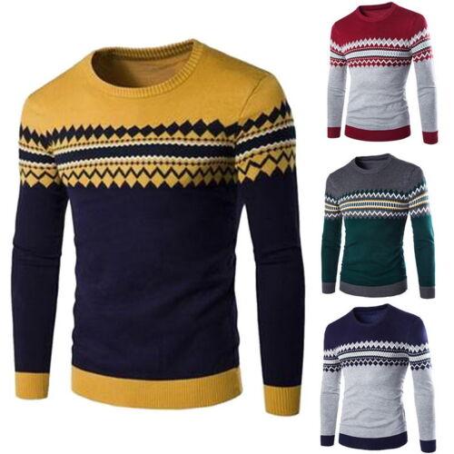 Fashion Mens Autumer Winter Warm Floral Sweater Crew Neck Slim Fit Pullover Tops