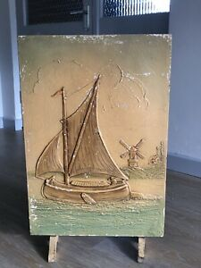 Vintage-Painted-Firescreen-Antique-1920s-1930s-Original-Art-Ship-Dutch-Style