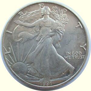USA-1-Dollar-1991-034-American-Silver-Eagle-034-1-oz-999-Silver