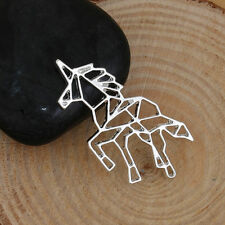 Unicorn Origami Long Necklace - SILVER TONE