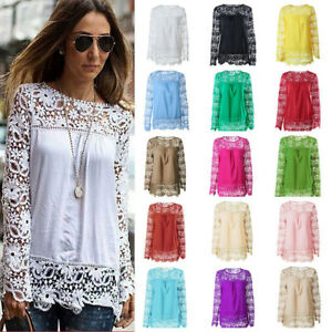 Casual-Women-Ladies-Loose-Tee-Tops-Shirt-Hollow-out-Flowers-Lace-Chiffon-Blouse
