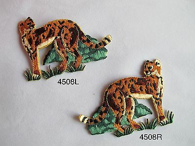 #4508 Left & Right Leopard In The Forest Embroidery Iron On Applique Patch Siempre Compra Bien