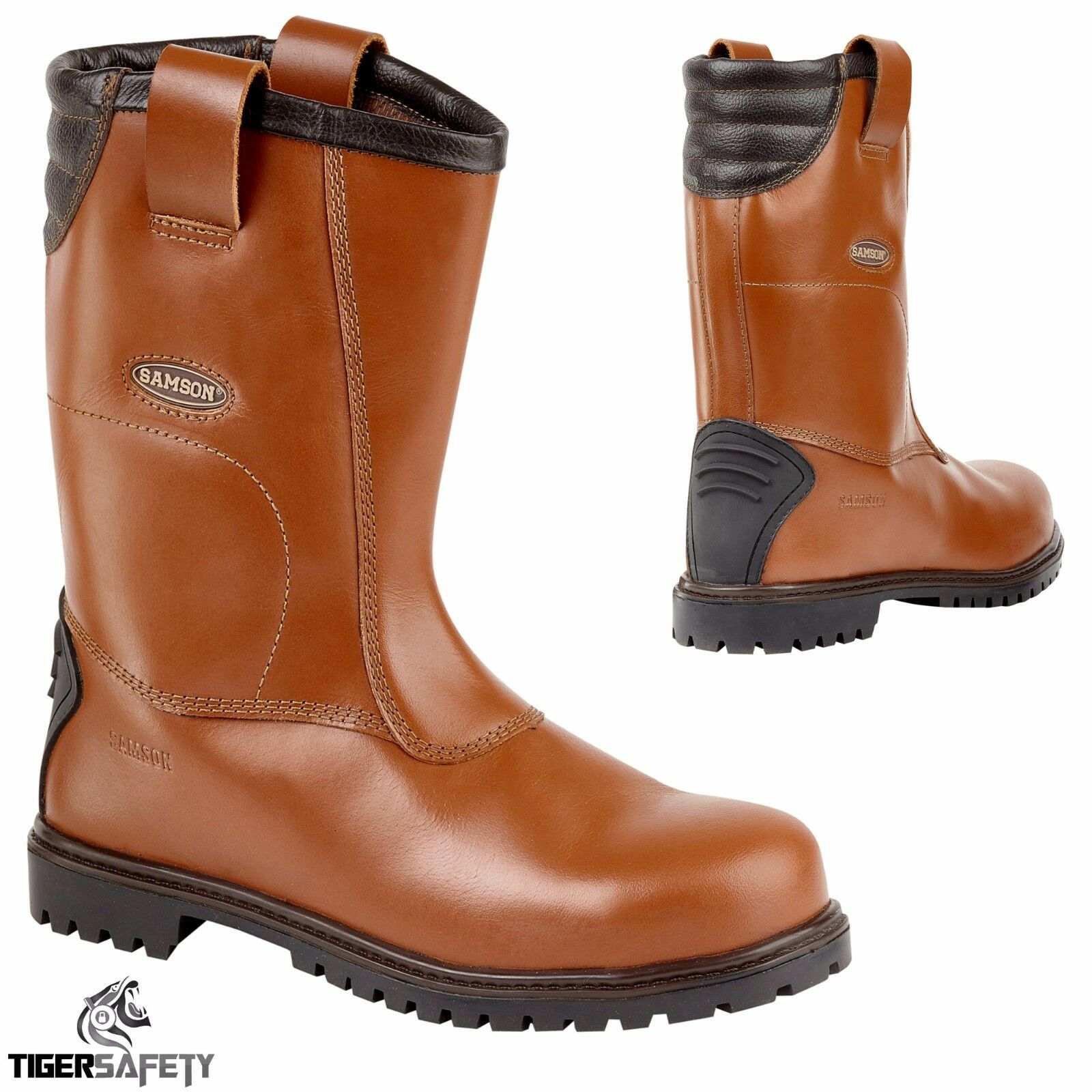 Samson 7051 S3 SRC Brown Redskin Steel Toe Cap Safety Rigger Boots Work Boot PPE