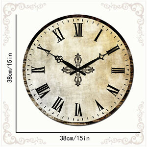 "15"" Home Decor Roman Numeral Wall Clock Silent Living Room ..."
