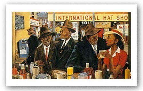 Monday Morning on Commerce Street Ernest Watson African American Art Print 10x6