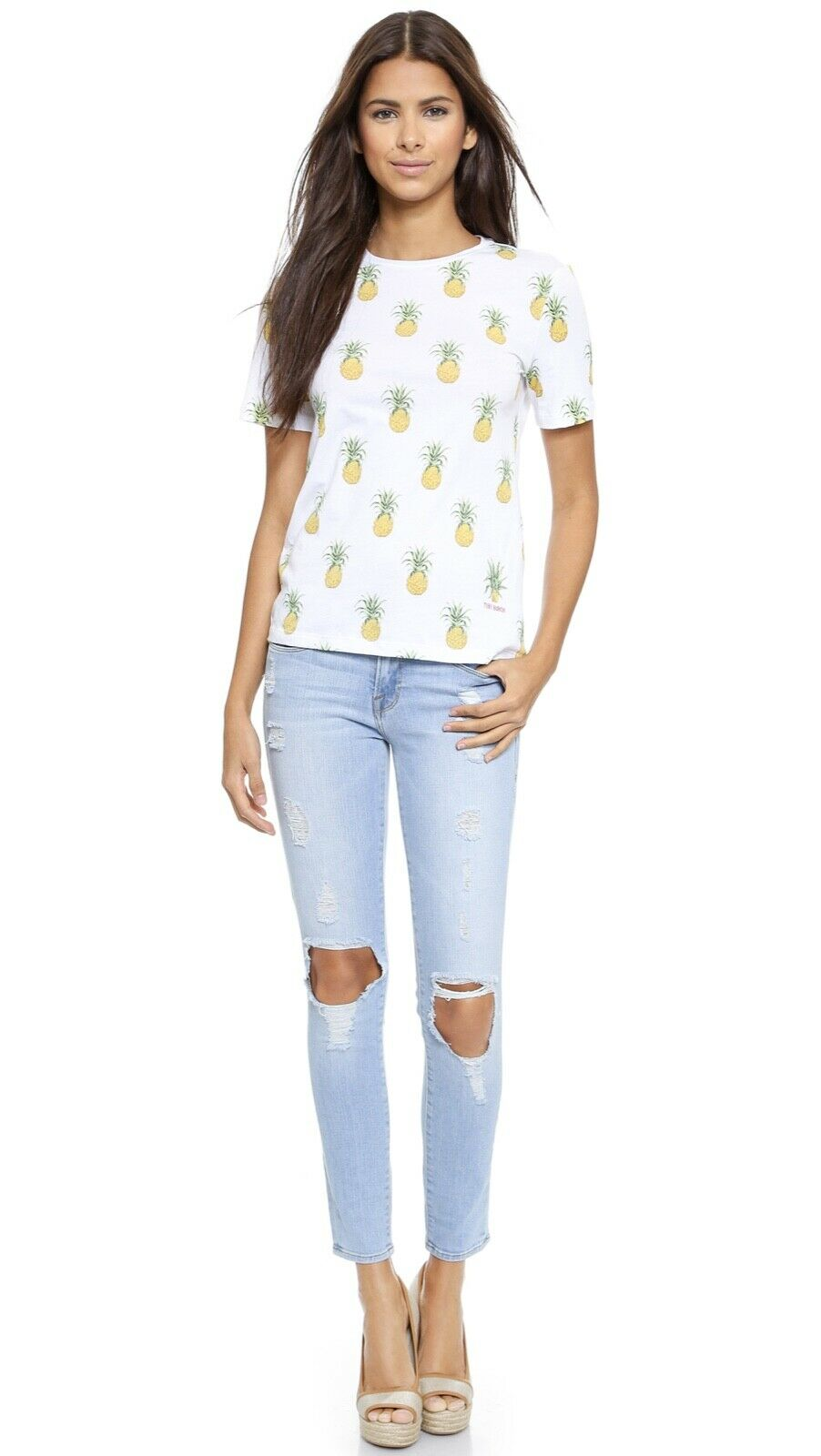 Tory Burch Cathy Tee T shirt M Pineapple Print Garden Party Spring Cotton 6 8