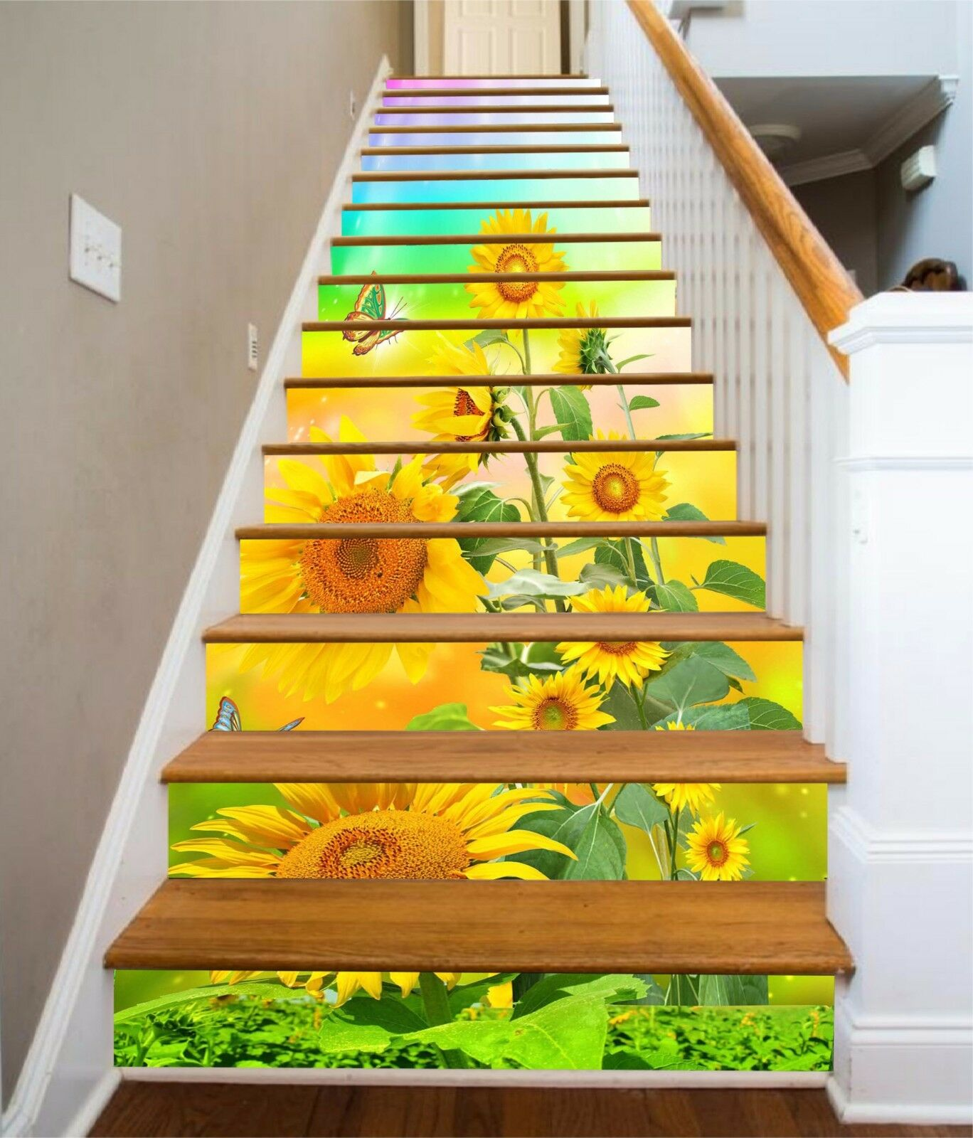 3D Sunflower Stair Risers Decoration Photo Mural Vinyl Decal Wallpaper AU