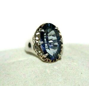 Argent Sterling 925 Bleu Violet Ovale Quartz Déclaration Taille 7.25 Ring-afficher Le Titre D'origine Technologies SophistiquéEs