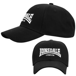 Lonsdale-Black-Baseball-Cap-Hat-Embroided-Logo-Adjustable-Size-Kappe-Muetze