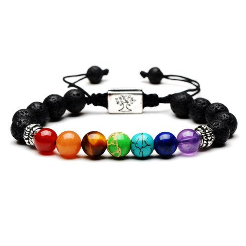 7 Chakra Guérison Bracelet handmade Volcanic Lava Stone Mala Méditation Perles