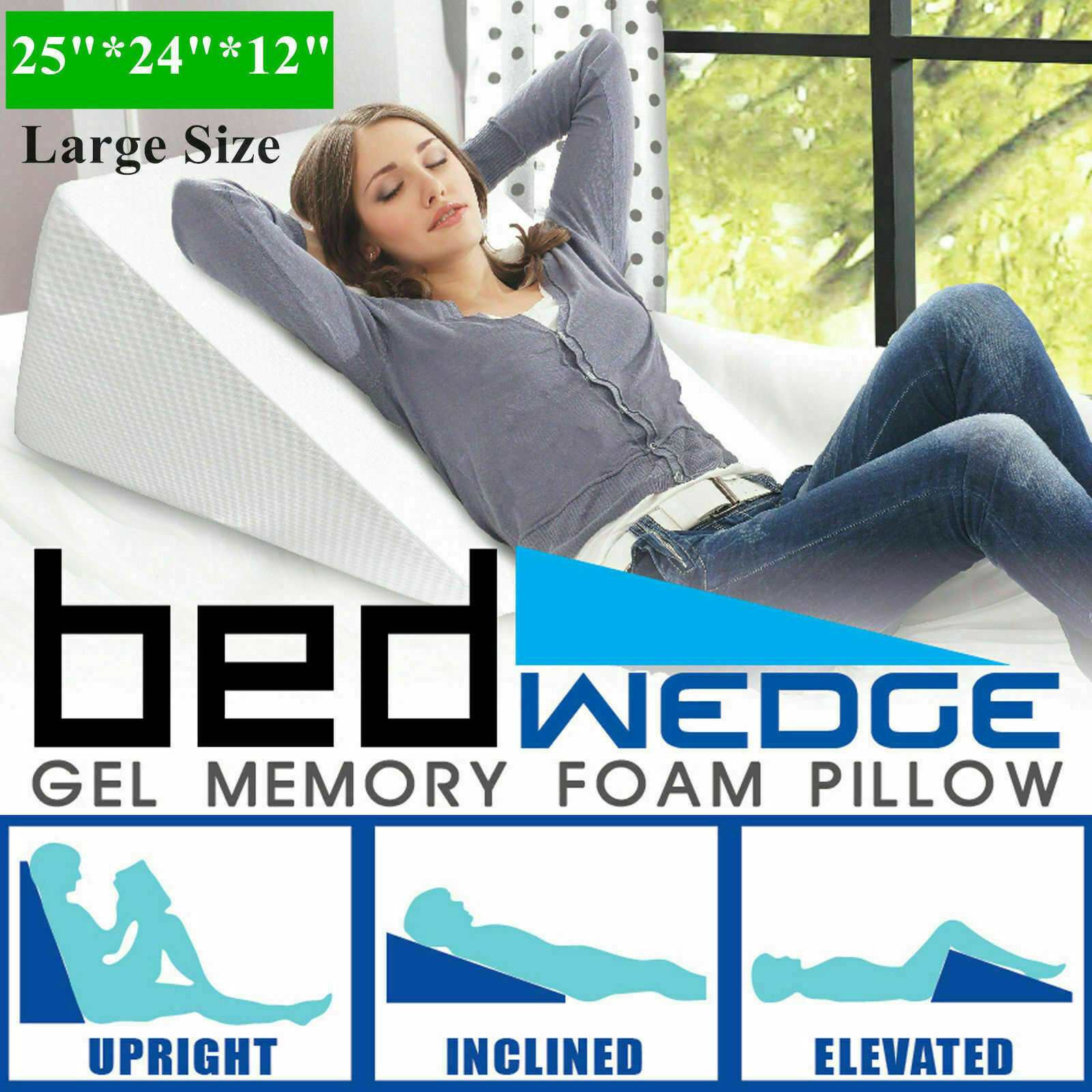 Extra Large Bed Wedge Raised Pillow Acid Reflux Memory Foam Back Improve Sleep