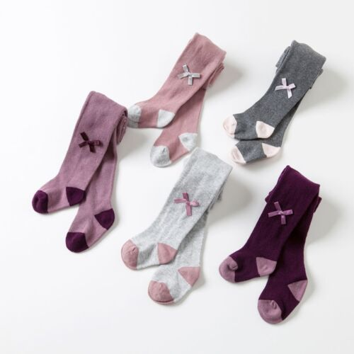 Dave /& Bella Girls Cotton Tights with Bow Mauve Gray Charcoal Pink Purple