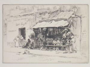 Lester-G-Hornby-AGUA-FUERTE-ORIGINAL-Vendedora-Flores-GRABADO-1914