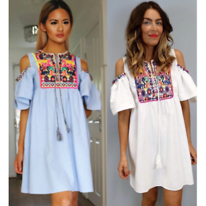 Ladies Bardot Wrap Frill Shirt Dress Flounce Hem Blouse Bohemia PomP Holiday Top