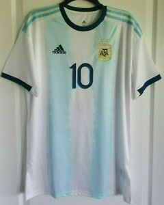 online store 6f139 4eb66 Details about Messi #10 Argentina 2019 Copa America Men's Home Soccer  Jerseys Size M L XL 2XL