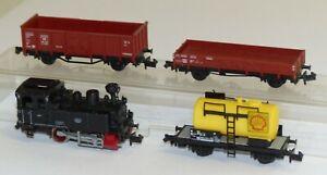 4x-Fleischmann-Dampflok-Lok-7-Kesselwaagen-Hochbord-Niederbordwagen-Spur-N