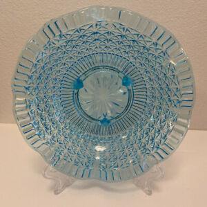 Stunning Vintage Ice Blue Aqua Ruffle Edge Footed Candy Dish Fruit Bowl